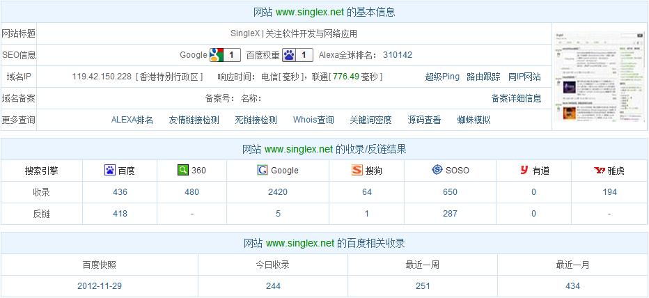 www.singlex.net基本信息